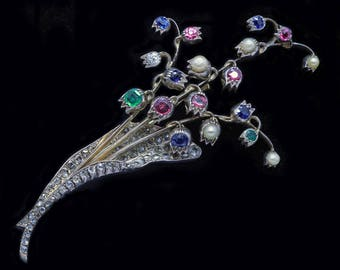 Antique French Brooch Tremblant Diamond Emerald Ruby Sapphire Pearl Gold Silver (#4814)