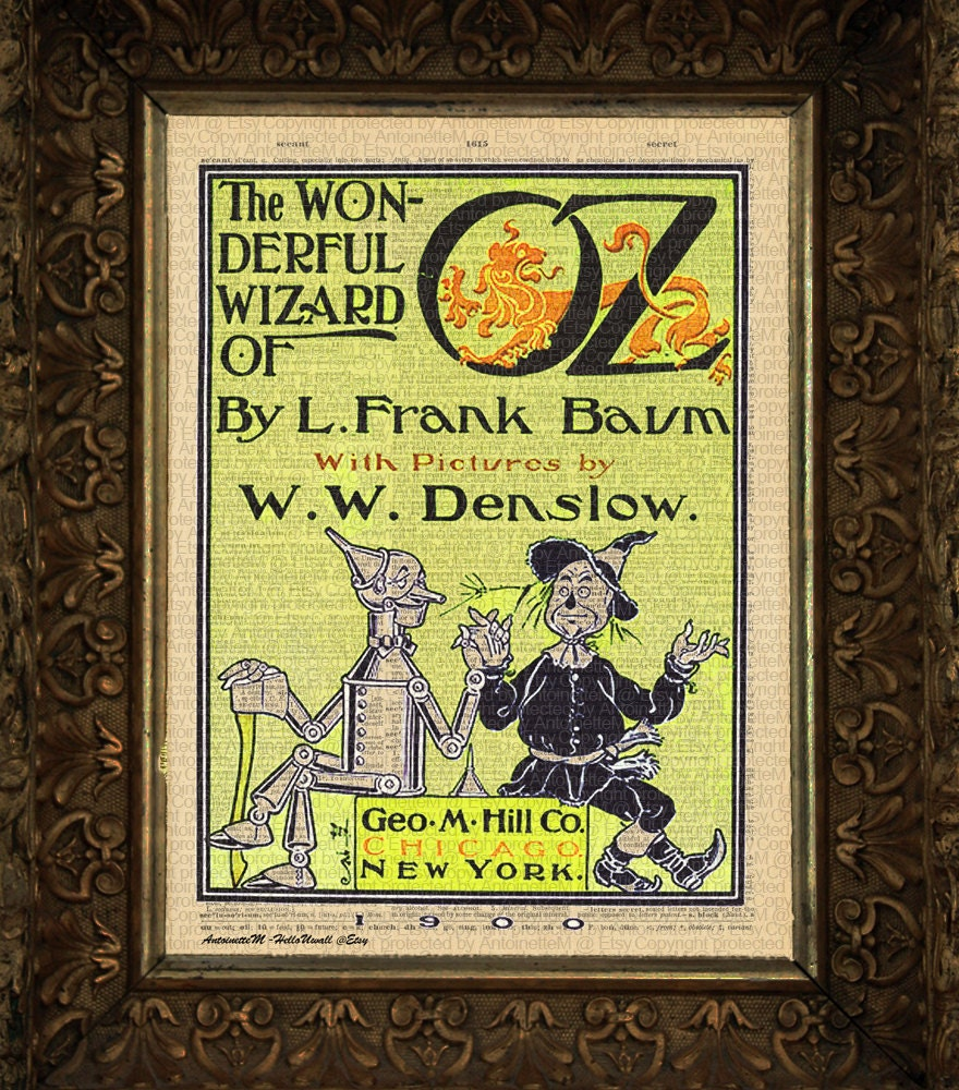 Wizard of Oz original book cover on art dictionary page