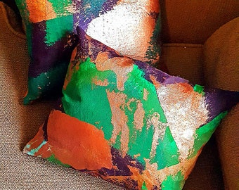Abstract Art Pillow, Hand Painted with Acrylic on Canvas