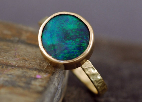 Semi-Black Opal in Recycled 18k Yellow Gold Ring- Made to Order