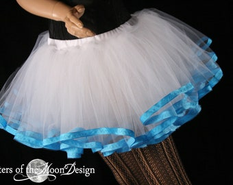 White TUTU tulle skirt petticoat ribbon trim turquoise costume carnival bridal formal event dance - You Choose Size - Sisters of the Moon