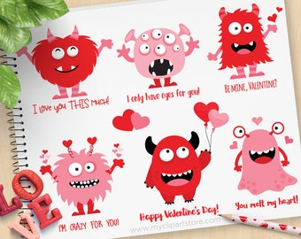 Valentine Monster Clipart, Love monsters, Valentine's Day, Monster party, Cute Monsters, Commercial Use, Vector clip art, SVG Cut Files