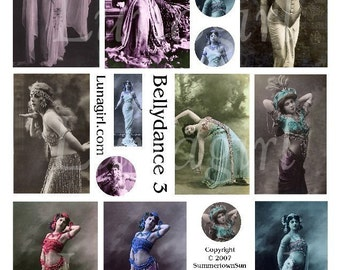BELLYDANCE digital collage sheet, vintage photos dancers women girls, altered art exotic tribal, Mata Hari images, French postcards DOWNLOAD