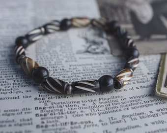 Jet Stone Carved Antler Bracelet, Men's Jewelry, Men's Yoga Bracelet, Gift for Boyfriend, Brown Black Bracelet, Stretch Bracelet for Men