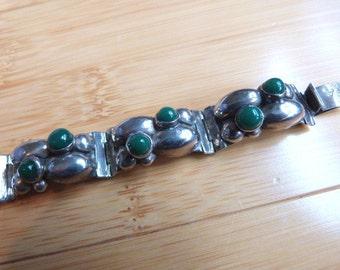 Vintage Sterling Silver Mexico Link Bracelet Eagle Mark