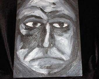 Serious man - black and white - Oil painting