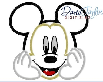 Mickey Bust Embroidery Design 4x4, 5x7, 6x10, 7x10, 8x10 in 9 formats-Applique Instant Download-David Taylor Digitizing