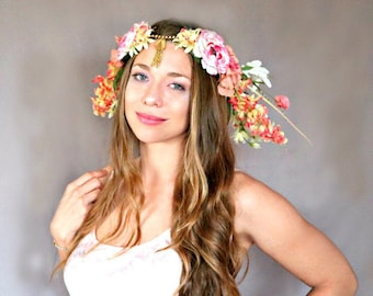Golden Springtime Flower Crown, Wedding Crown, Festival Crown, Queen Crown, Faerie Crown