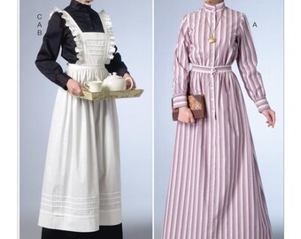 6229, Butterick, Misses Victorian, Edwardian Era, Dress pinafore, House Maid, Pioneer Dress, Schoolmarm dress Costume, Cosplay, Halloween,