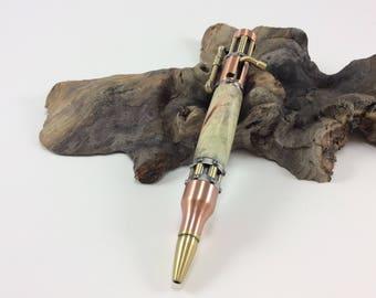 Steampunk Bolt Action Pen with stabilized Buckeye Burl