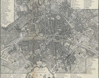 Giant Vintage Historic Old World A City Plan Street Map Of - Large map of paris france