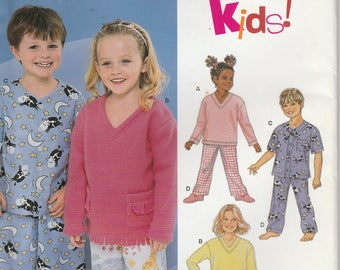 Pajama Pattern Top Pants Boys Girls Size 3 - 4 - 5 - 6 - 7 - 8 Uncut New Look 6131