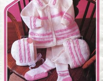 """Baby Pram Set DK 18-20"""" Peter Pan P397 Vintage Knitting Pattern PDF instant download"""