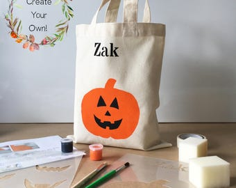 Paint Your Own Halloween Pumpkin Trick-or-treat mini tote bag, DIY craft kit, design your own, kraft kit for kids, DIY Gift, fabric paint