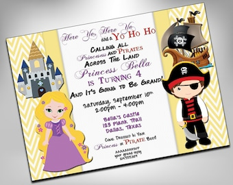 Princess and Pirate Birthday Party, Twin Birthday Invite, Double Birthday, Pirate, Party, Princess Invitation, Birthday Invites