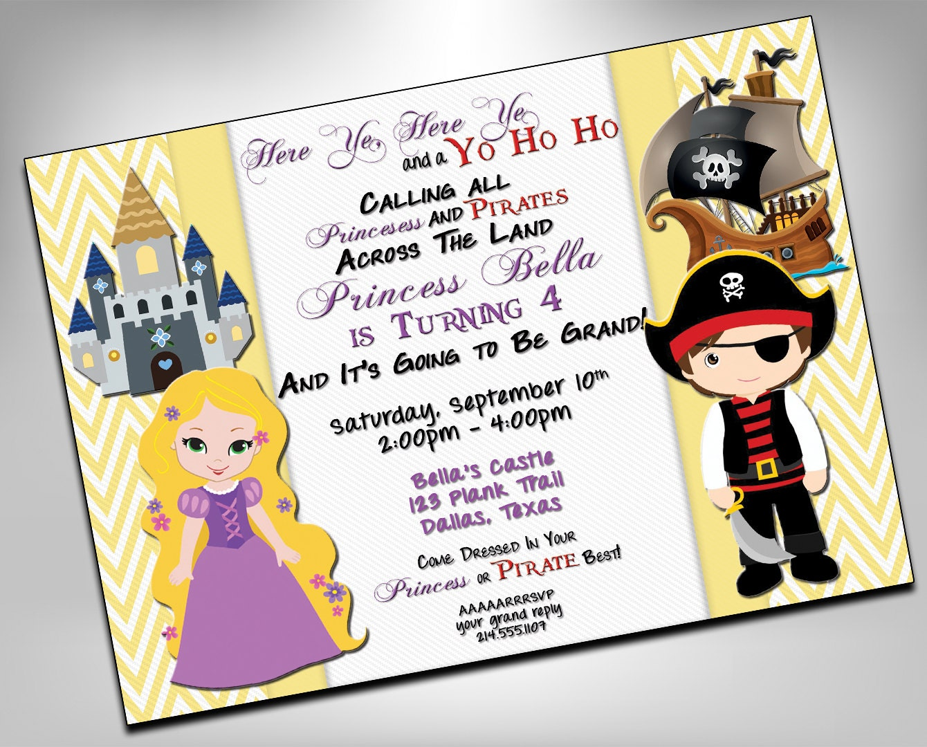 Princess and Pirate Birthday Party Twin Birthday Invite