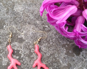 Pink Coral Dangle Earrings by oldmanwithers