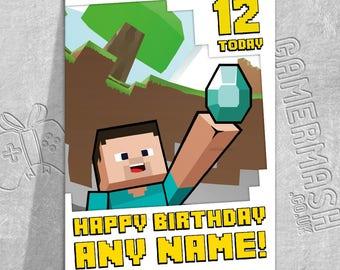 PERSONALISED BIRTHDAY CARD - Steve Diamond Bordered - Minecraft Themed