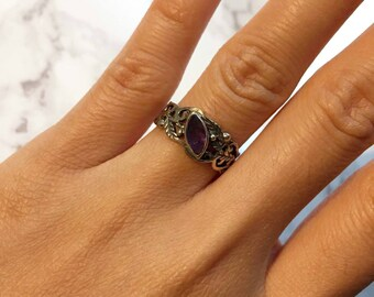 Oxidised Aged Sterling Silver Amethyst Ring