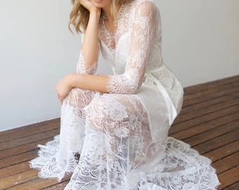 Long White Lace Wedding Dress Bridal Robe