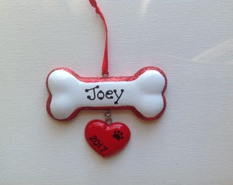 Personalized Pet Dog Bone Christmas Ornament- Pet's First Christmas- Hand Personalized