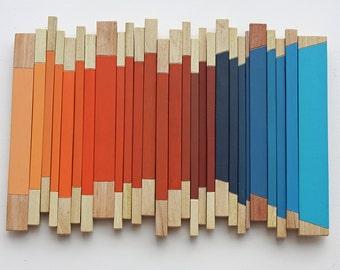 Traverse | Wood Wall Art | Abstract | Modern Art | Reclaimed wood | Blue | Orange | Wood Art