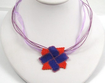 Pinwheel Blossom Peyote Pendant  (2552) - A Sand Fibers Creation