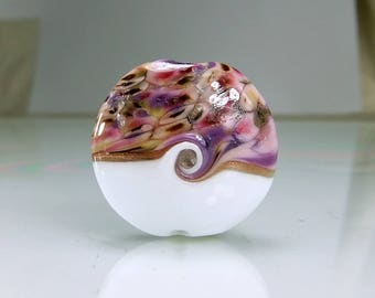 White Pink Silver Lampwork Glass Focal Bead