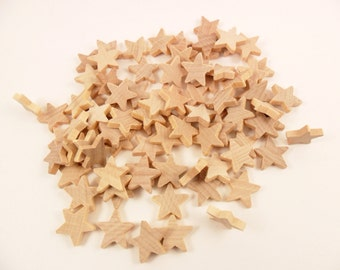 "Wood Stars 3/4"" x 3/4 x 3/16"" Star Cut Outs - 75 Pieces"