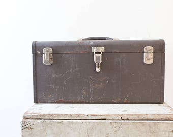 Kennedy Industrial Metal Toolbox - Patina Gray Silver Brown Case Tool Box Tackle Box Steel Rusted Heavy Duty Vintage Toolbox