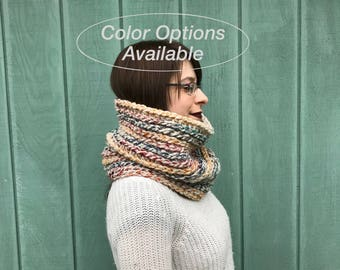 Custom color option crochet cowl, womans snood, circle scarf, infinity scarf, crochet scarf, made to order, crochet textured custom scarf