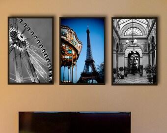 Paris photography/Paris wall decor/black and white Photography/set of 3 prints/Paris prints/Paris poster/Eiffel tower/Ferris wheel