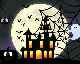 Halloween PhotoBooth, Halloween Backdrop, Halloween Party, DIGITAL DOWNLOAD PRINTABLE, Halloween