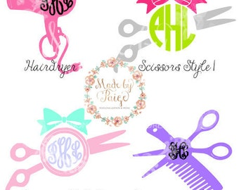 Hairdresser/Hairstylist Monogram Decal