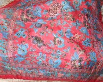 Vintage pure silk square scarf