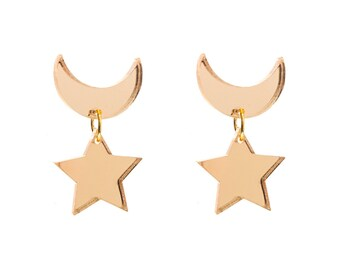 Sailor Moon Crescent Moon and Star Earrings (Mirror)