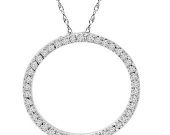 Diamond .65CT Circle Of Life Round Pendant 10K White Gold