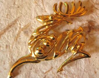 Very Stylish 1980s Reindeer Christmas Pin Brooch
