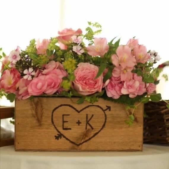 Rustic wedding wooden box centerpiece flowers cards