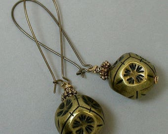 Vintage Brass Flower Dangle Drop Bead Earrings,Long Brass Kidney Ear Wire- GIFT WRAPPED