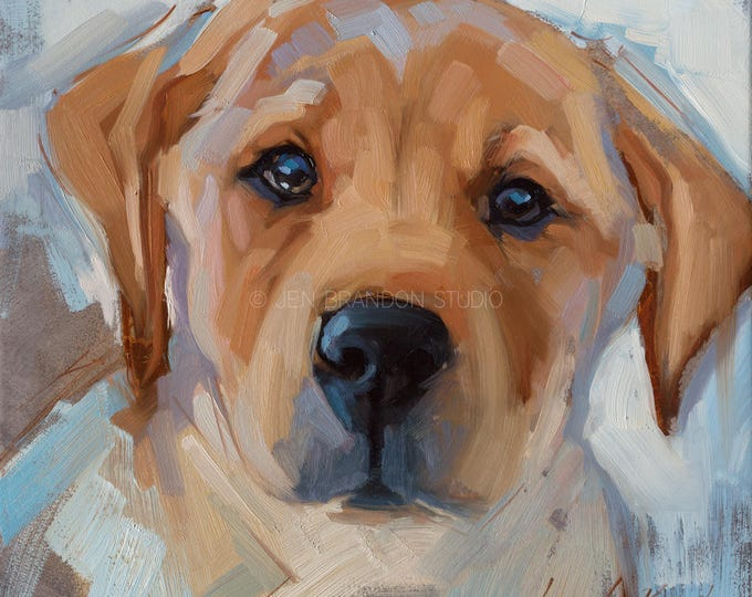 Featured listing image: Yellow Lab Pet Portrait Giclée Fine Art Print