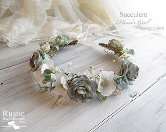 Succulent Wedding Flower Crown ~ Bridal Flower Crown ~ Bridal Halo ~ Bride, Bridesmaid, Flowergirl ~ Available in Child and Adult Size.