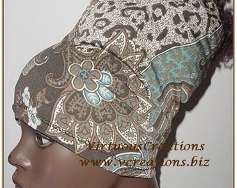 HeadBand-HeadTube - Head Wrap - Paisley-Cheetah Print-Brown-White-Blue-Locs-Natural Hair Accessories