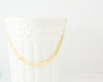 Fishbone necklace, statement necklace, gold fishbone necklace, gold necklace, wedding necklace, leaf statement necklace, cute necklace