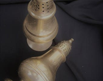 Pair of brass shakers, condiment set, vintage brass salt and pepper shakers, salt pepper,