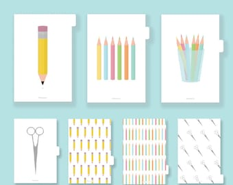 Planner Dividers Printable, Tabs, Inserts, A5, Tabbed, Filofax Kikki K dividers, index divider, accessories, tabs, pdf, stationery