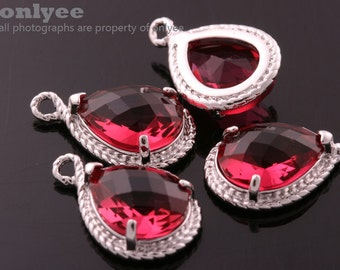 2pcs-19mmX12mmRhodium Faceted tear drop glass with rope rim pendants-Ruby(M316S-F)