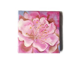 Original Oil Painting Pink  Flower Miniature  15*15 cm Ideas Gift for mom