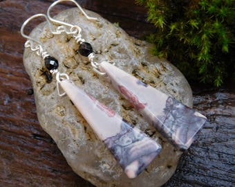 Porclain Black Onyx and Sterling Silver Earrings