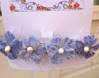 Blue Velvet Hairclip, Blue Vintage Style Velvet Hair Accessory, Velvet Hairclip, Floral Barrette Clip, Flower Hairclip, Handmade in UK,